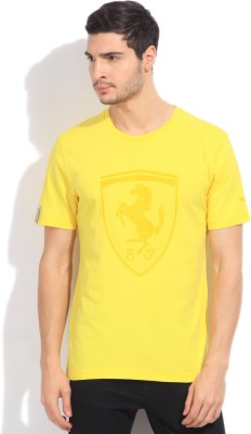 Puma Printed Men's Round Neck Yellow T-Shirt