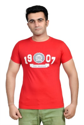 Parv Collections Solid Men's Round Neck Red T-Shirt