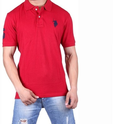 Ganesh Creation Solid Men's Polo Neck Red T-Shirt