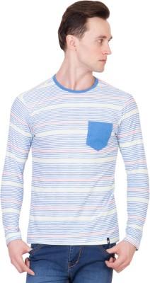 Ganzm Striped Men's Round Neck Multicolor T-Shirt