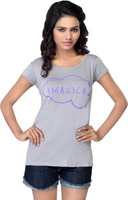 Imagica Printed Womens Round Neck Grey T-Shirt