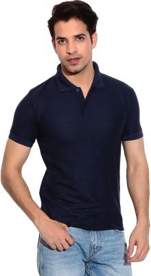 Davie Jones Solid Men's Polo Neck Blue T-Shirt