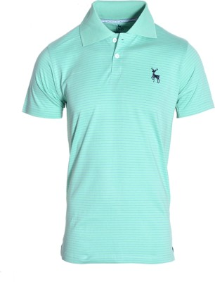 IND Classic Striped Men's Polo Neck Light Green T-Shirt
