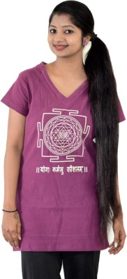 SUPRI Printed Women's V-neck Maroon T-Shirt