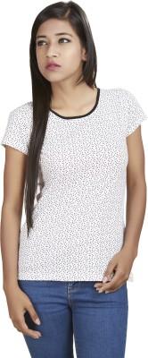 Defossile Polka Print Women's Round Neck Multicolor T-Shirt