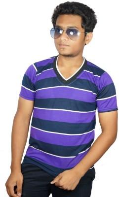 Desi Connection Striped Boy's V-neck Purple T-Shirt