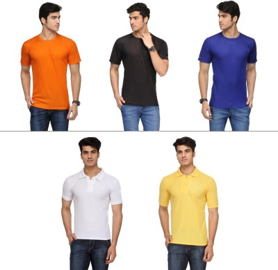 Vicbono Solid Men's Round Neck, Polo Neck T-Shirt