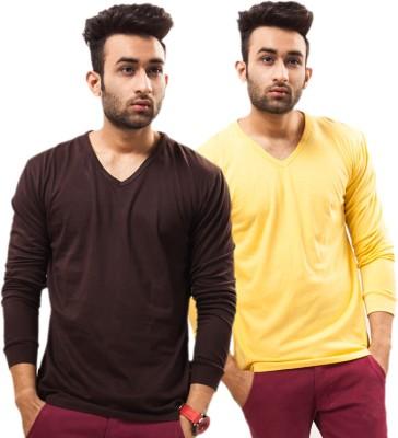 Unisopent Designs Solid Men's V-neck Brown, Yellow T-Shirt