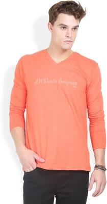 HW Printed Men,s V-neck Orange T-Shirt