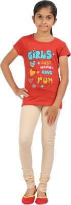 Rham Gold Solid Girl's Round Neck Red T-Shirt