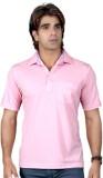 Valeta Solid Men's Polo Neck Pink T-Shir...