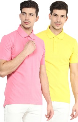 Yellow Submarine Solid Men,s Polo Neck Yellow, Pink T-Shirt