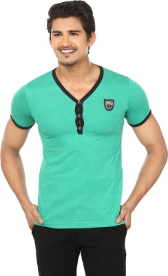 Modish vogue Solid Men's V-neck Green T-Shirt