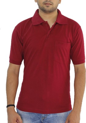 Grey Tree Solid Men,s Polo Neck Red T-Shirt