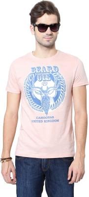 People Printed Men's Round Neck Pink T-Shirt
