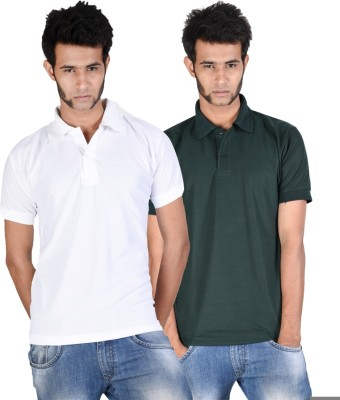 Whistle Solid Men's Polo Neck White, Dark Green T-Shirt