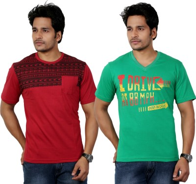 Eco Trend Printed Men's V-neck Red T-Shirt