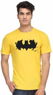 Sukhiaatma Printed Men's Round Neck Yellow T-Shirt