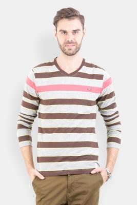 Crocodile Striped Men,s V-neck Multicolor T-Shirt