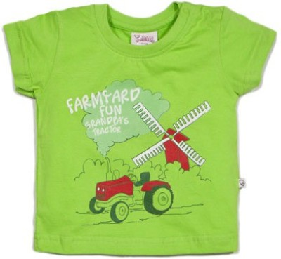 Solittle Printed Baby Boy,s Round Neck Green T-Shirt