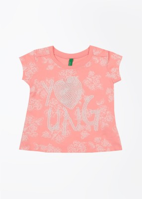 United Colors of Benetton Printed Girl's Round Neck Pink T-Shirt