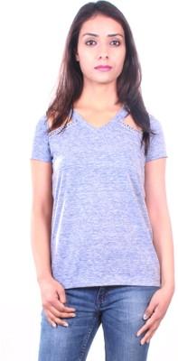 AR2 Solid Women's V-neck Grey T-Shirt