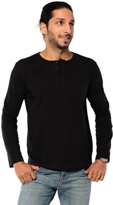 Ebry Solid Men's Henley Black T-Shirt
