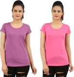 New Darling Solid Women's Round Neck Pur...