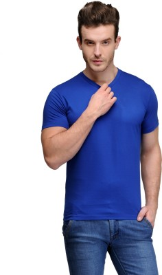 Scott International Solid Men's V-neck Blue T-Shirt