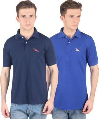 PRO Lapes Solid Men's Polo Neck Blue, Dark Blue T-Shirt