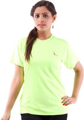 Miauw Solid Women's Round Neck Green T-Shirt