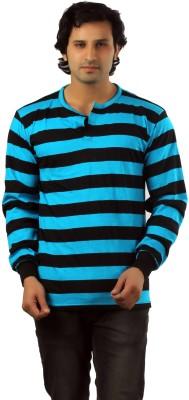 Vsquared Striped Men's Henley Multicolor T-Shirt