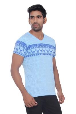 Pezzava Self Design Men's V-neck Reversible Blue, Light Blue T-Shirt