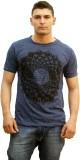 Tuntuk Printed Men's Round Neck Blue T-S...
