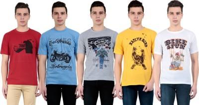 vestiario Printed Men's Round Neck Multicolor T-Shirt