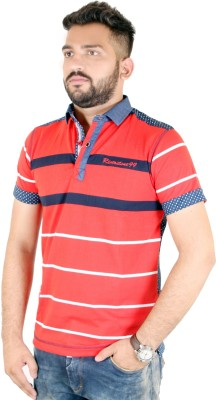 MjString Striped Men's Flap Collar Neck Red T-Shirt