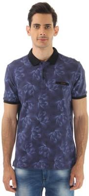 Monte Carlo Printed Men's Polo Neck Dark Blue T-Shirt