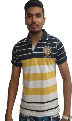 London Eye Striped Men,s Polo Neck Yellow T-Shirt