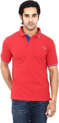 STACKIA Solid Men's Polo Neck Red T-Shirt