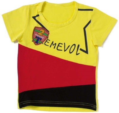Icable Printed Boy's Round Neck Yellow T-Shirt