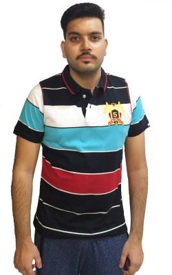 London Eye Striped Men,s Polo Neck Black, Light Blue T-Shirt