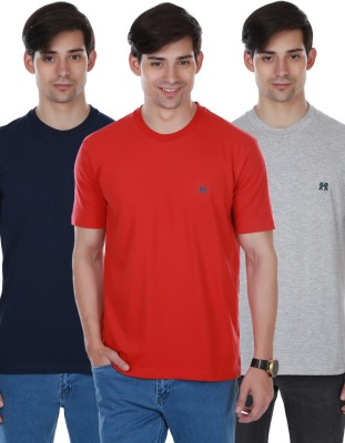 Cotton County Premium Solid Men's Round Neck Dark Blue, Red, Grey T-Shirt