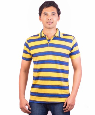 Indrow Self Design, Striped Men's Polo Neck Yellow T-Shirt