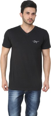 Ebry Solid Men's V-neck Black T-Shirt