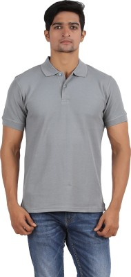 Anytime Solid Men's Polo Neck Grey T-Shirt