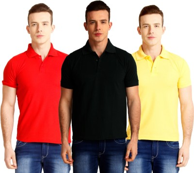Nimya Solid Men's Polo Neck Black, Red, Yellow T-Shirt