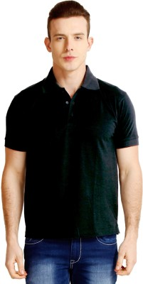 Faded Finch Solid Men's Polo Neck Black T-Shirt