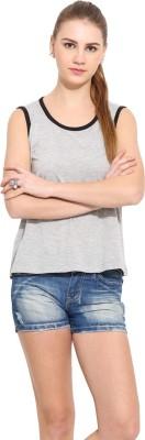 Sugar Her Solid Women's Round Neck Grey T-Shirt