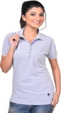 Vriksh Solid Women's Polo Neck Grey T-Sh...
