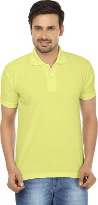 Forever19 Solid Men's Polo Neck Yellow T-Shirt